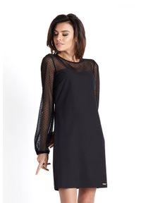 IVON - Wizytowa Sukienka z Tiulowym Rękawem - Czarna w Kropki. Kolor: czarny. Materiał: tiul. Wzór: kropki. Styl: wizytowy