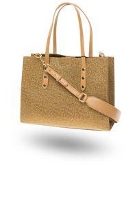 Złota torebka TwinSet do ręki, z aplikacjami, z aplikacjami