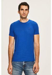 Niebieski t-shirt Tommy Jeans z okrągłym kołnierzem, na co dzień