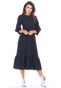 Awama - Czarna Rozkloszowana Midi Sukienka z Bufiastym Rękawem 3/4. Kolor: czarny. Materiał: poliester, elastan. Długość: midi