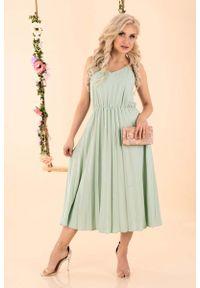 Merribel - Sukienka na Ramiączkach z Plisowanym Dołem - Miętowa. Kolor: miętowy. Materiał: poliester. Długość rękawa: na ramiączkach