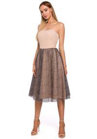 e-margeritka - Sukienka gorsetowa tiulowa - xl. Typ kołnierza: dekolt gorset. Materiał: tiul. Długość rękawa: bez ramiączek. Typ sukienki: gorsetowe. Styl: elegancki. Długość: midi