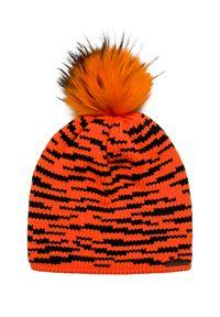 Pomarańczowa czapka Sportalm na zimę, z nadrukiem
