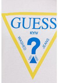 Guess - T-shirt Kyiv z kolekcji urodzinowej. Okazja: na urodziny. Kolor: biały. Materiał: dzianina, bawełna. Wzór: nadruk. Styl: casual #3