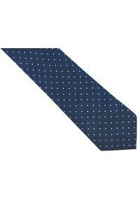 Rietti - Granatowy jedwabny krawat w geometryczny wzór - białe kwadraciki R41. Kolor: niebieski, biały, wielokolorowy. Materiał: jedwab. Wzór: geometria