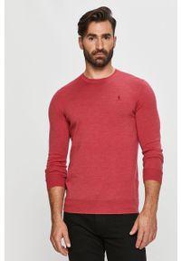 Różowy sweter Polo Ralph Lauren z długim rękawem, długi, na co dzień, z okrągłym kołnierzem