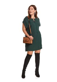 Zielona sukienka TOP SECRET z krótkim rękawem, w kolorowe wzory, z okrągłym kołnierzem, klasyczna