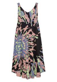 Sukienka z dżerseju w batikowy wzór bonprix czarno-zielony kredowy - stary jasnoróżowy z nadrukiem. Kolor: czarny. Materiał: jersey. Długość rękawa: na ramiączkach. Wzór: nadruk. Styl: retro