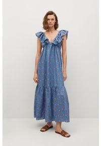Niebieska sukienka mango na co dzień, bez rękawów, casualowa