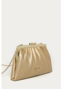 Złota kopertówka Love Moschino skórzana, na ramię