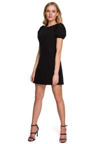 MOE - Prosta Mini Sukienka z Bufiastym Rękawem - Czarna. Kolor: czarny. Materiał: poliester, elastan. Typ sukienki: proste. Długość: mini