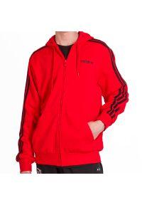 Czerwona bluza Adidas klasyczna, z kapturem