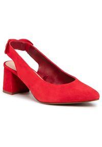 Czerwone sandały Lasocki z aplikacjami