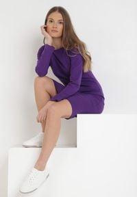 Born2be - Fioletowa Sukienka Sanya. Okazja: na co dzień. Kolor: fioletowy. Materiał: bawełna, dzianina, jeans. Długość rękawa: długi rękaw. Typ sukienki: proste, oversize. Styl: casual. Długość: mini