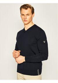 Niebieski sweter klasyczny EA7 Emporio Armani