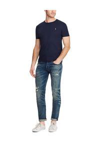 Ralph Lauren - RALPH LAUREN - Granatowy t-shirt Custom Slim Fit. Okazja: na co dzień. Typ kołnierza: polo. Kolor: niebieski. Materiał: materiał. Wzór: haft. Styl: klasyczny, casual