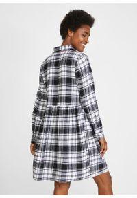 Sukienka flanelowa w kratę bonprix czarno-biały w kratę. Kolor: czarny. Typ sukienki: szmizjerki
