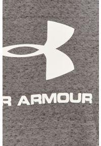 Szara bluza nierozpinana Under Armour casualowa, z kapturem, z nadrukiem