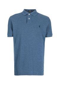 Ralph Lauren - RALPH LAUREN - Niebieska koszulka z granatowym logo. Typ kołnierza: polo. Kolor: niebieski. Materiał: bawełna. Wzór: haft. Styl: klasyczny
