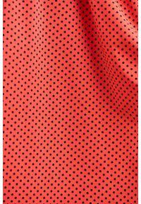 Marie Zélie - Sukienka Anastazja czerwień wiosenna w kropeczki. Kolor: czerwony. Materiał: dzianina, elastan, skóra, materiał, bawełna. Sezon: wiosna. Typ sukienki: rozkloszowane. Styl: klasyczny