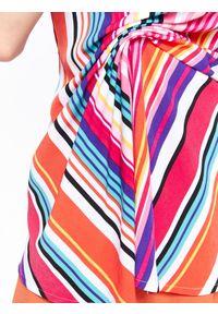 TOP SECRET - Bluzka bez rękawów damska, o luźnym kroju, w paski. Okazja: na co dzień. Materiał: jeans, materiał. Długość rękawa: bez rękawów. Wzór: paski. Sezon: lato, wiosna. Styl: elegancki, casual