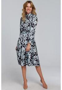 e-margeritka - Sukienka elegancka rozkloszowana w kwiaty - s. Materiał: poliester, tkanina, materiał. Długość rękawa: długi rękaw. Wzór: kwiaty. Styl: elegancki