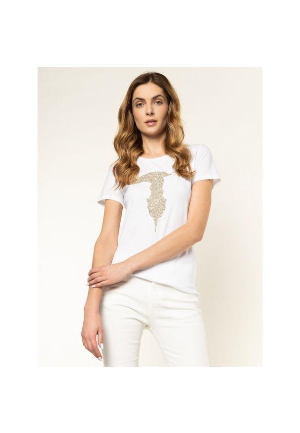 Biały t-shirt Trussardi Jeans
