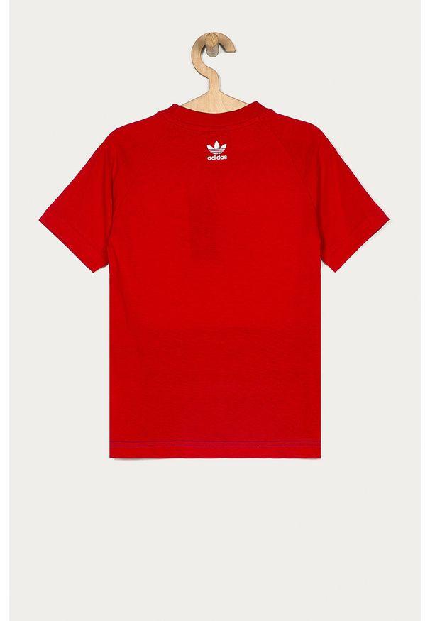 Czerwona bluzka z krótkim rękawem adidas Originals z okrągłym kołnierzem, z nadrukiem, casualowa