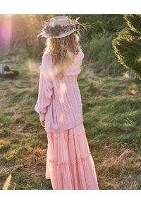 LOVE SHACK FANCY - Bawełniany kardigan Lake Boyfriend. Kolor: fioletowy, różowy, wielokolorowy. Materiał: bawełna. Długość: długie. Wzór: ze splotem
