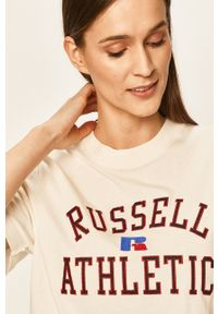 Russell Athletic - Russel Athletic - T-shirt. Okazja: na co dzień. Kolor: beżowy. Materiał: dzianina. Styl: casual