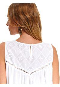 Biała bluzka TOP SECRET bez rękawów, na lato, w kolorowe wzory