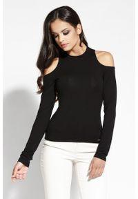 Dursi - Czarna Bluzka z Wciętymi Ramionami. Kolor: czarny. Materiał: wiskoza, elastan