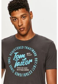 Szary t-shirt Tom Tailor Denim na co dzień, casualowy, z okrągłym kołnierzem