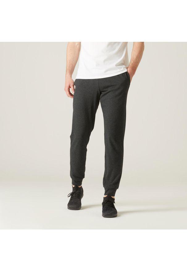 NYAMBA - Spodnie dresowe fitness. Kolor: szary. Materiał: poliester, bawełna, materiał. Sport: fitness