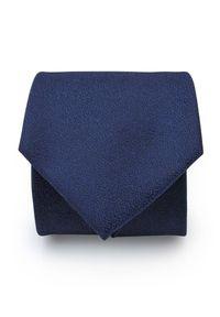 Adam Collection - Granatowy krawat męski, strukturalny materiał D286. Kolor: niebieski. Materiał: materiał. Wzór: gładki