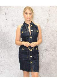 CRISTINAEFFE - Granatowa jeansowa sukienka. Kolor: niebieski. Materiał: jeans. Typ sukienki: dopasowane. Styl: klasyczny