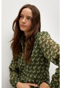 mango - Mango - Sukienka VIENA. Kolor: zielony. Materiał: tkanina. Długość rękawa: długi rękaw. Typ sukienki: rozkloszowane