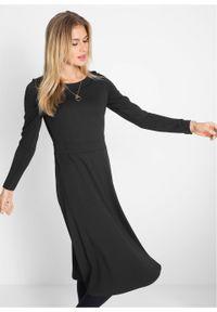 Sukienka midi Punto di Roma, dł. za kolano bonprix czarny. Kolor: czarny. Materiał: materiał, wiskoza. Długość: midi