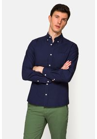 Lancerto - Koszula Granatowa Louise. Typ kołnierza: button down. Kolor: niebieski. Materiał: bawełna, tkanina, jeans. Wzór: ze splotem. Styl: sportowy