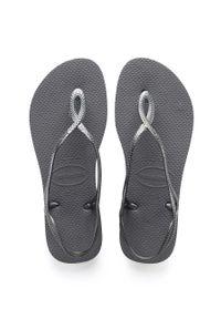 Szare sandały Havaianas gładkie, na średnim obcasie, na obcasie