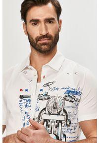 Biała koszula Desigual na co dzień, z krótkim rękawem