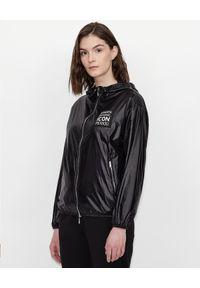 Czarna kurtka Armani Exchange z długim rękawem, długa, sportowa