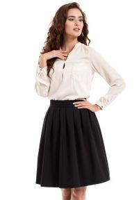 MOE - Czarna Spódnica Midi z Plisowaniami. Kolor: czarny. Materiał: poliester, wiskoza, elastan