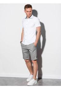 Ombre Clothing - Koszula męska z krótkim rękawem K541 - biała - XXL. Typ kołnierza: kołnierzyk klasyczny. Kolor: biały. Materiał: dzianina, bawełna. Długość rękawa: krótki rękaw. Długość: krótkie. Sezon: lato. Styl: klasyczny