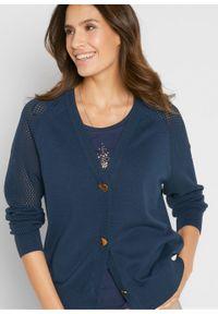 Sweter rozpinany bonprix ciemnoniebieski. Kolor: niebieski. Wzór: ażurowy