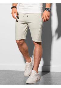 Ombre Clothing - Krótkie spodenki męskie dresowe W299 - jasnoszare - XXL. Kolor: szary. Materiał: dresówka. Długość: krótkie