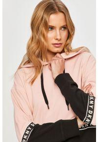 Różowa bluza DKNY z kapturem, z długim rękawem, długa
