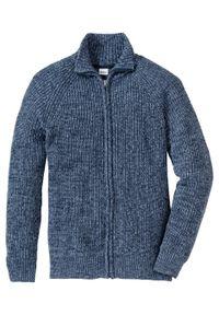 Sweter rozpinany bonprix matowy niebieski - ciemnoniebieski melanż. Typ kołnierza: kołnierzyk stójkowy. Kolor: niebieski. Wzór: melanż