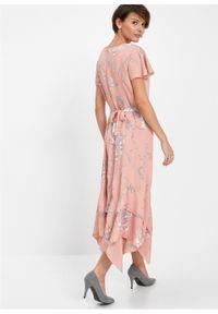 Różowa sukienka bonprix w kwiaty, maxi