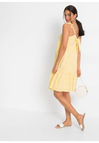 Sukienka z wiązanymi troczkami bonprix żółty w paski. Typ kołnierza: kokarda. Kolor: żółty. Wzór: paski